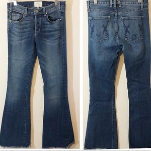 McGuire button fly flare raw hem jeans 28